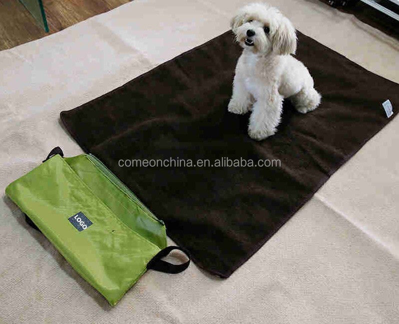Portable travel dog mat blanket roll in pet blanket with bag