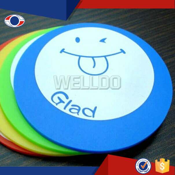 Cheap round shaped rubber soft bar mat/promotional pvc coaster