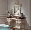 Luxury neoclassical style solid wood bedroom furniture white color dressing table with matching mirror