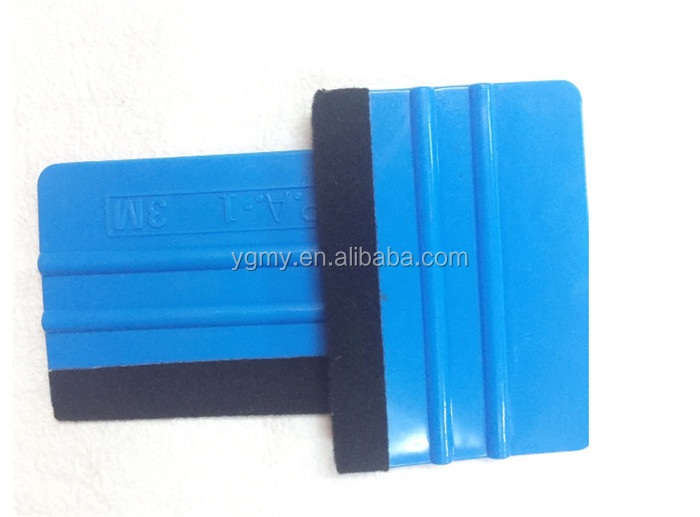 Squeegee Car Film Tool Vinyl Blue Plastic Scraper Squeegee With Soft Felt Edge Decal Applicator