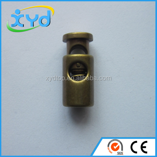 Wholesale zinc alloy gold and silver colors spring metal stopper cord lock