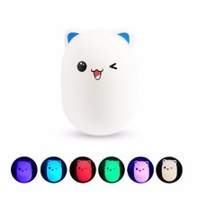 baby gift Silicone Cute Bear LED night Light with Rechargeable for Baby, Color Changing