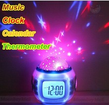 Moon Star LED Clock Projector Glowing LED Color Change Digital Alarm Clock Colorful Projection Clock