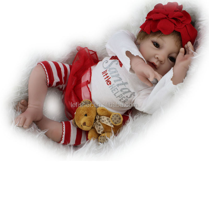 Silicone Reborn Baby Dolls Lifelike Girl Dolls Little helper Baby Alive Stuffed Body,22-Inch by NPK,Child Toy