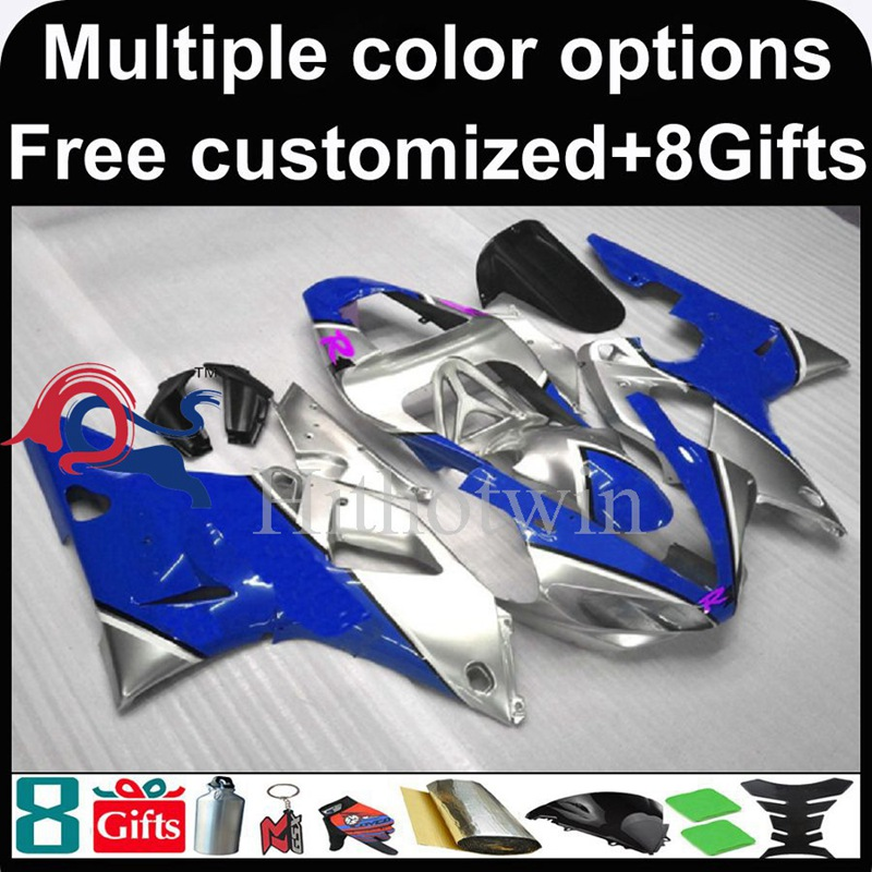 blue silver motorcycle cowl for Yamaha YZFR1 2000-2001 00 <strong>01</strong> YZF <strong>R1</strong> 2000 2001 00-<strong>01</strong> ABS Plastic <strong>Fairing</strong>