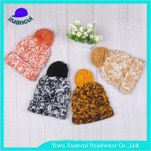 2017 latest style knitted winter sport caps pom pom cuffed brim beanie hats for women