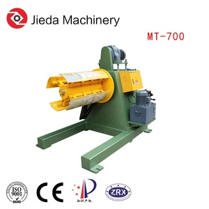 Sheet coil strip roll unpowered uncoiler machine with arm