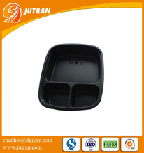 Triangle Black Eco-friendly Blister Food Packaging Divided Tray