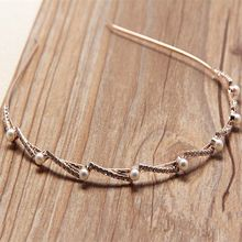 Hot sale high quality thin gold metal faux pearl headband