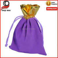 Purple Velvet Gold Trim Drawstring Jewelry Gift Christmas/Wedding String Drawstring Bag Pouch