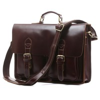 7105X-2 Top Quality Red Brown Laptop Bag Fancy Vintage Genuine Leather Briefcase For Men