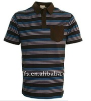 blue brown stripe polo shirt