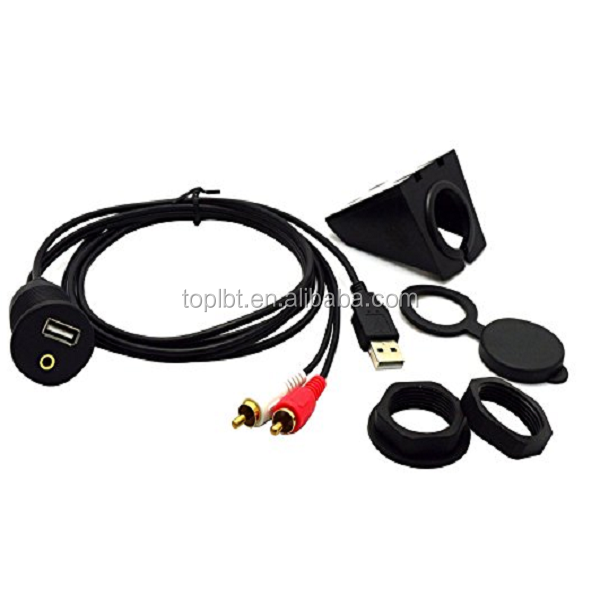 USB & 3.5mm to 2 RCA and USB AUX Flush Mount Dash Extension Audio&Video Cable