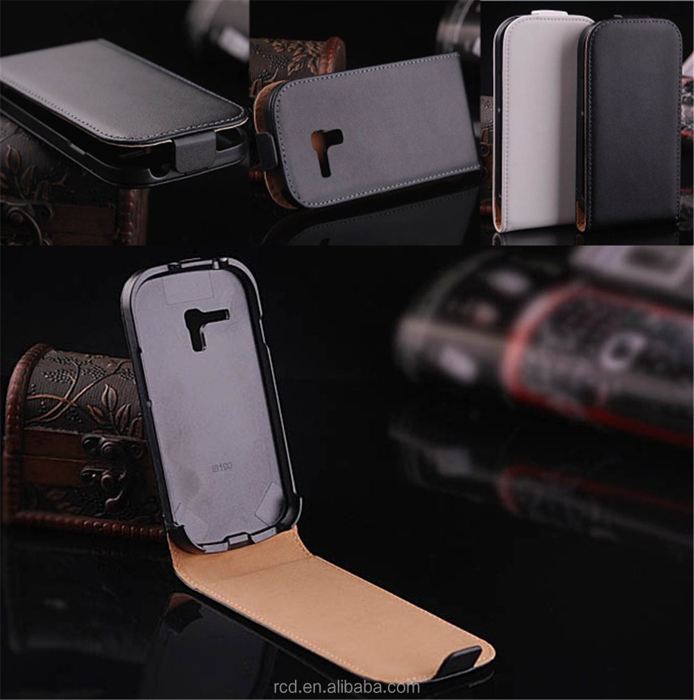 Fashion Flip Cover Mobile Phone Genuine Leather Case For Samsung Galaxy S 3 III mini i8190 RCD02401