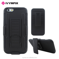 China manufacturer black hybrid holster combo plastic mobile phone case for iphone 6
