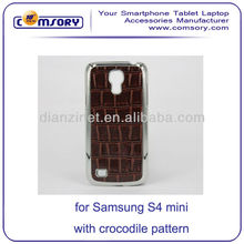 Electroplating hard phone case with crocodile pattern skin for Samsung Galaxy S4 Mini i9190 Paypal Acceptable