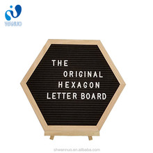 WanuoCraft Hexagon Home/Office Desk Display Decoration 10X10 Inch Oak Wooden Frame Black Felt Letter Board With Stand