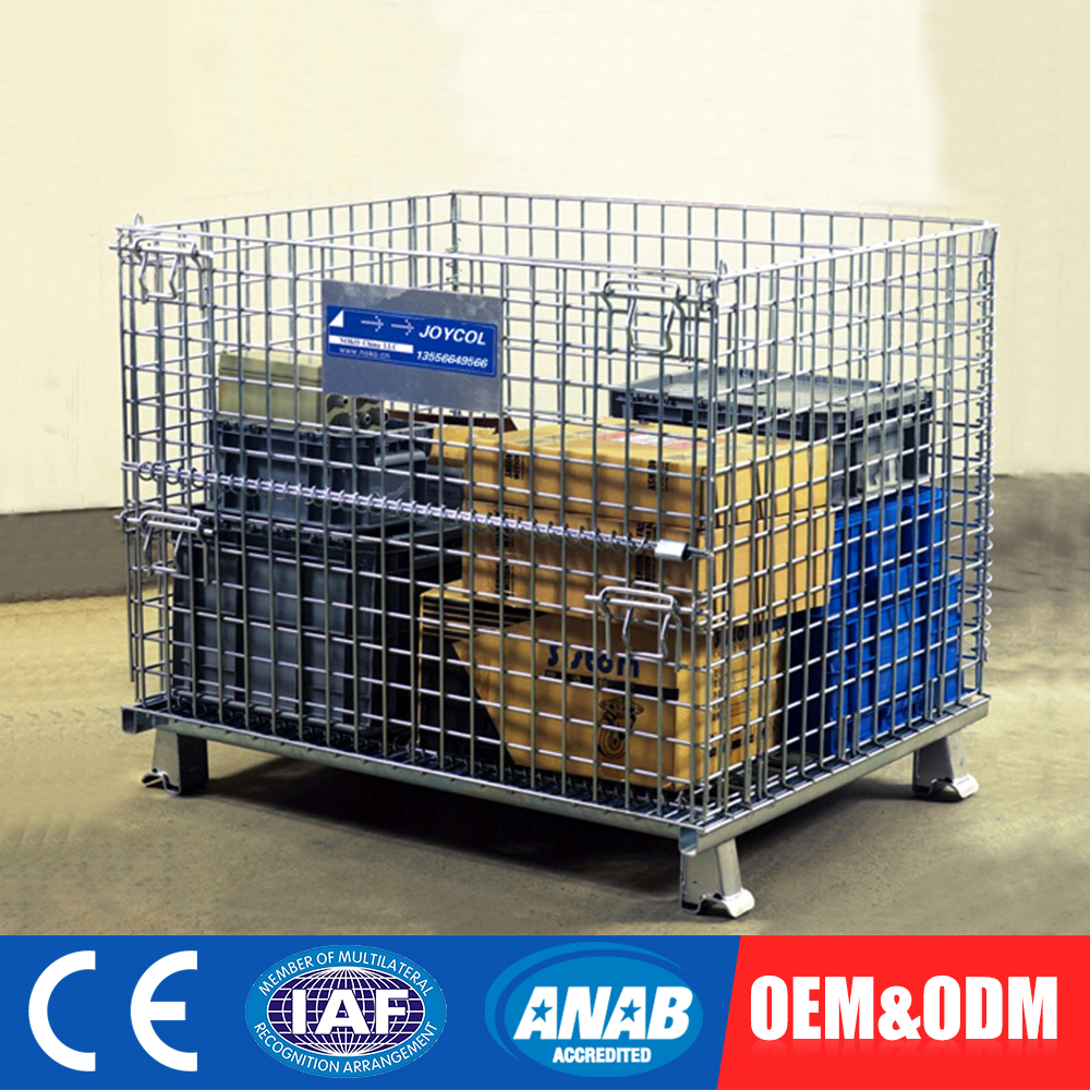 Custom Design Fold Steel Metal Wire Mesh Storage Cage Container With Wheels
