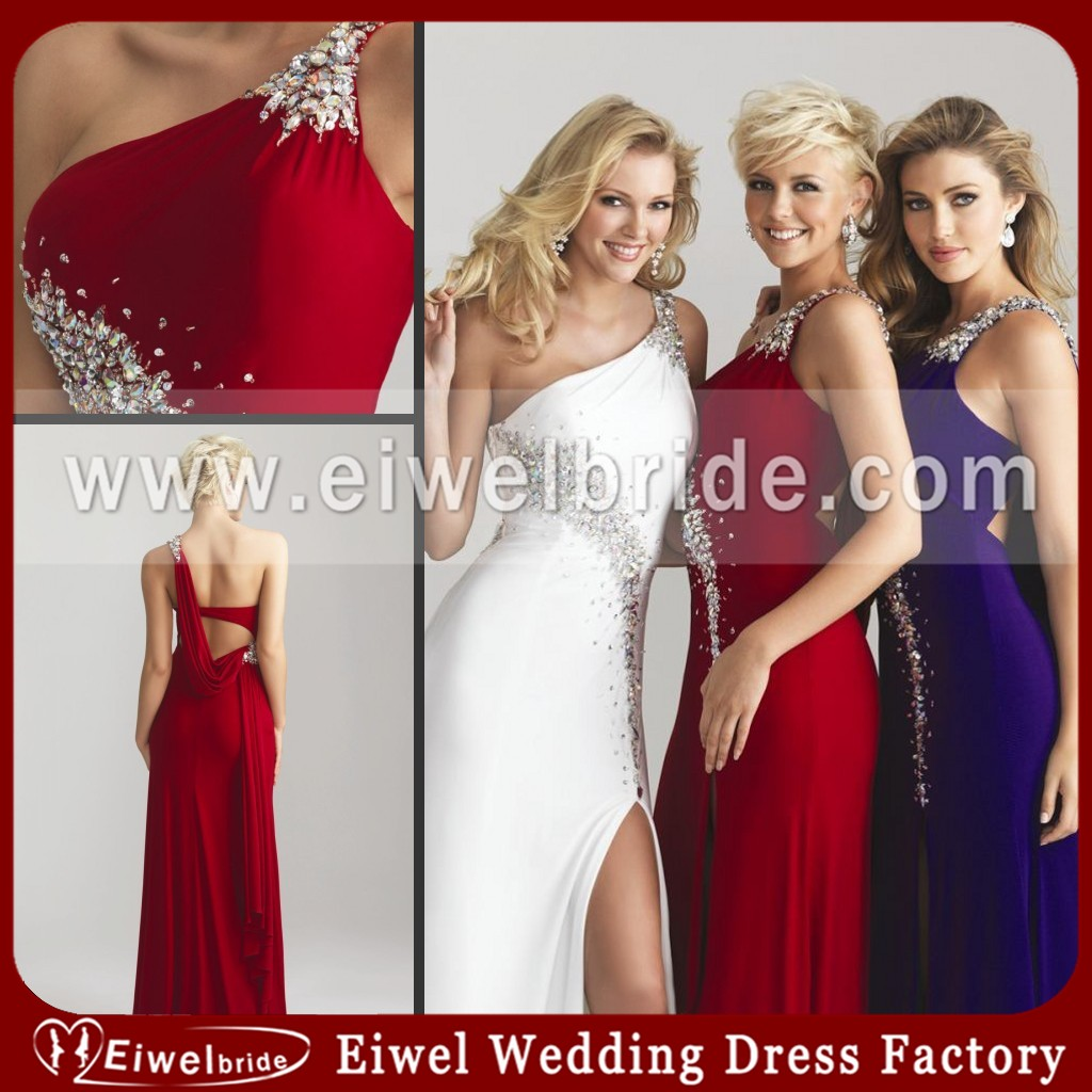 6740 One Shoulder Beaded Split Movie Star Evening Dress