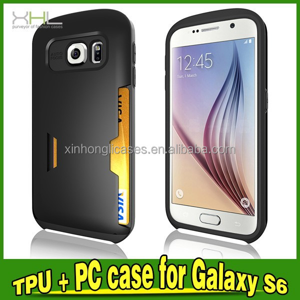 Card Slot hybrid cell phone case For Samsung Galaxy S6/G9200