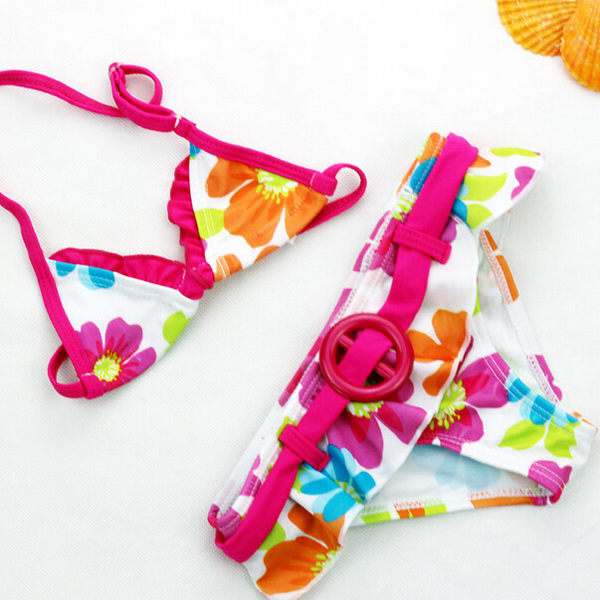 ET064 Popular printed thong bikini swimwear kids swimsuit models
