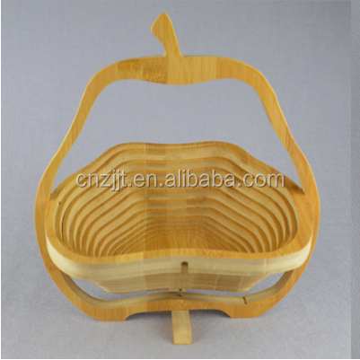 pear shape food grade folding wooden bamboo fruit basket