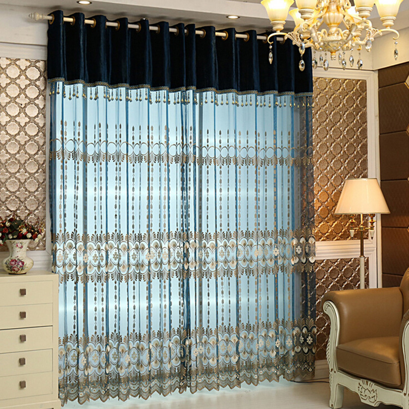 2016 organza fancy curtains with embroidery sheer fancy curtain