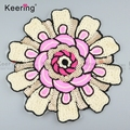 Keering Pink Beaded Embroidery Patches For Clothing WPHA-005