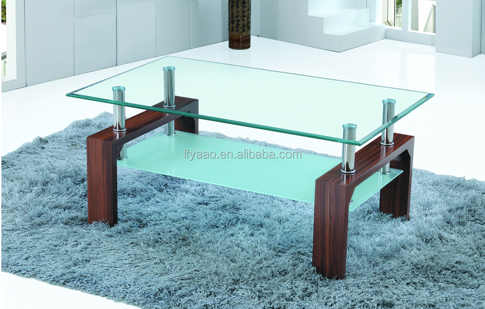 Wholesale oak veneer glass coffee table /teapoy table JY-02