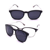 Italian Brand Sunglasses UV400 Fashion Metal Round sunglasses Gun metal polarized clip on sun glasses Wholesale