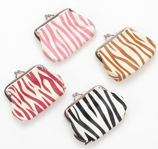 New design 4 colors zebra printed waterproof PVC coin purse