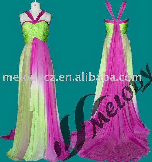 Elegant long ombre chiffon big tail real picture excellent line dance dresses