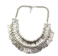 New Arrived European Women carving Coins Tribal Jewelry tassels exaggerate necklace