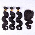 Online hot sellers brazilian hair body wave natural color virgin hair bundles with lace closure 4x4