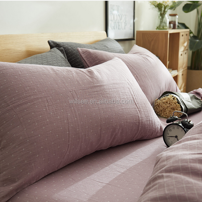 VB2015-High quality double layer air containing yarn dyed fabric bedding sheet set, 40S cotton yarn