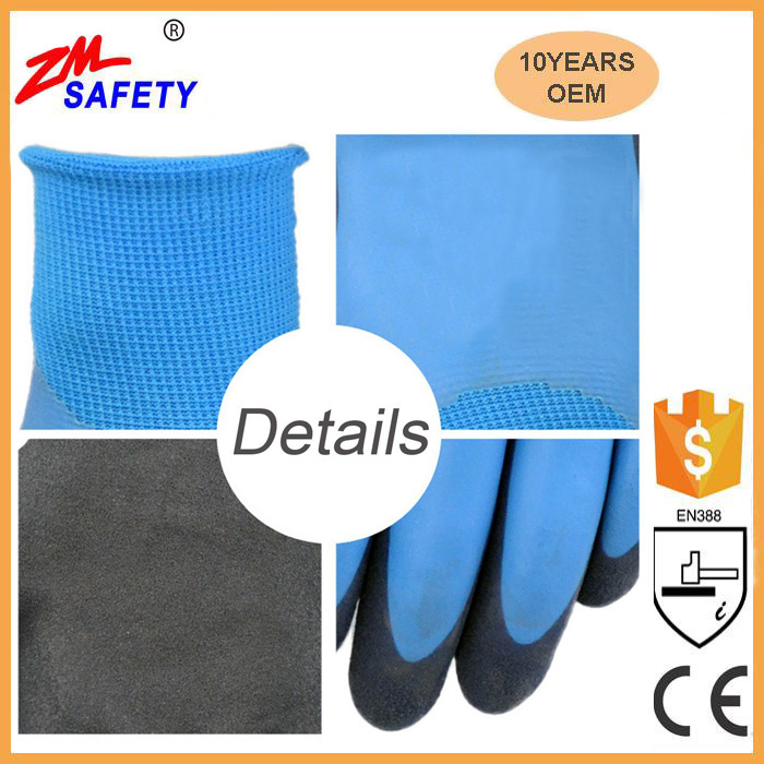 New Safety Protection Full Nitrile Coated Water Resistant Glove with Double Sandy Nitrile Dip Palm