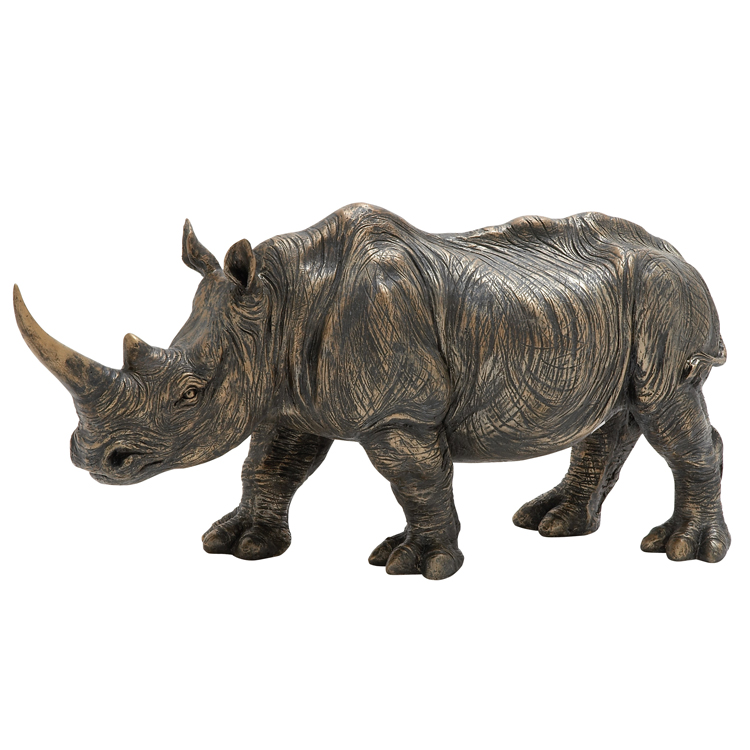 Factory direct supplied outdoor life size bronze rhinoceros sculpture for sale