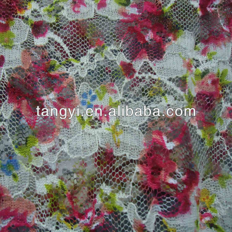 nylon printed net fabric for fashion girls dress