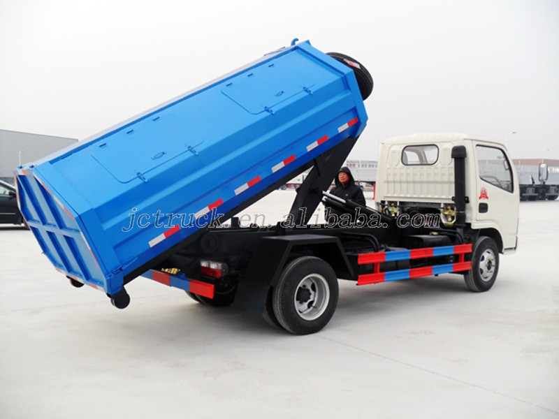 Euro 3 Emission Standard Dongfeng mini hook arm waste truck for hot sale