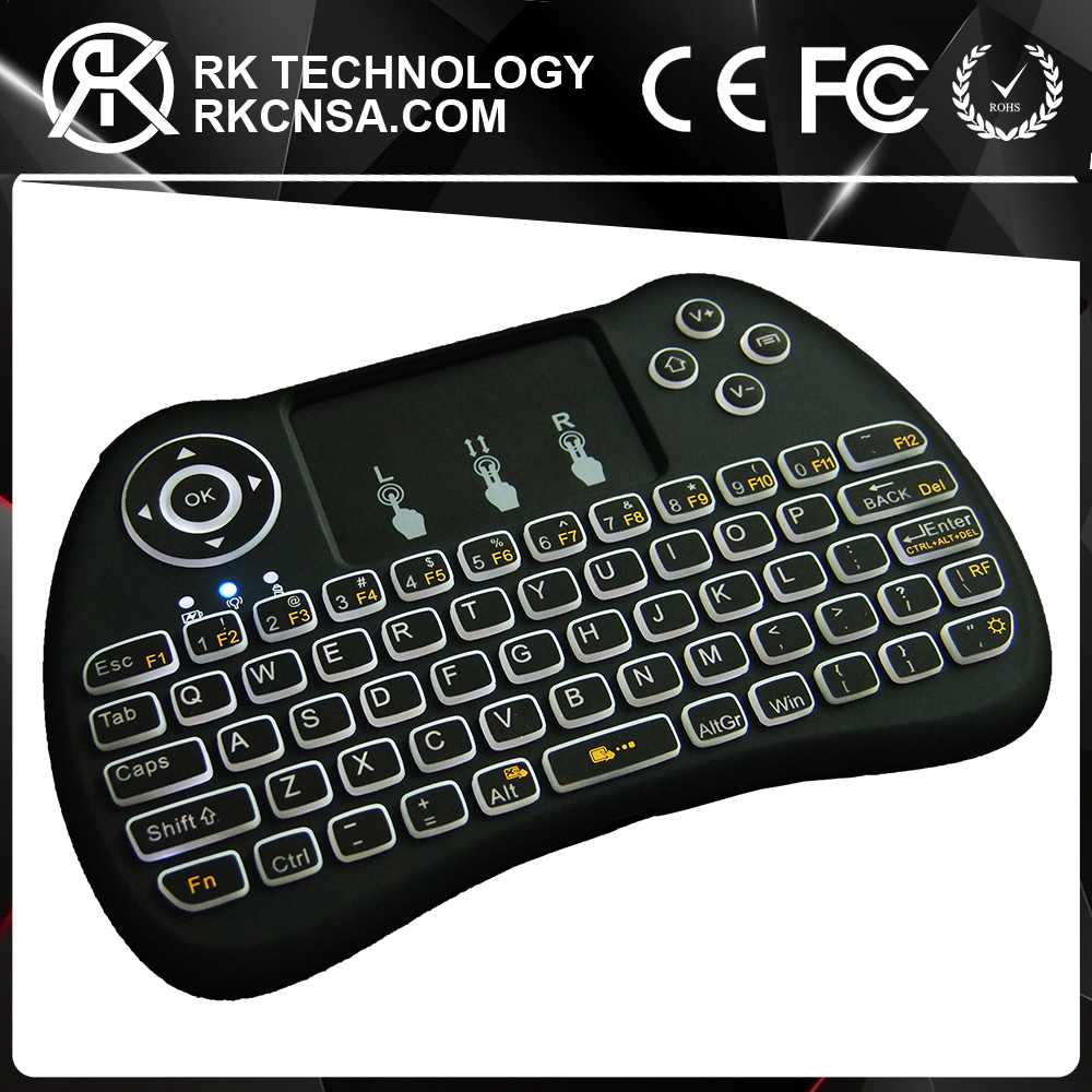 RK Multiple Colour Backlight Smart Transformation H9 OTT TV Box Mini Wireless Keyboard for Smart TV