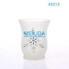 White Christmas snowflake glass hurricane candle holders