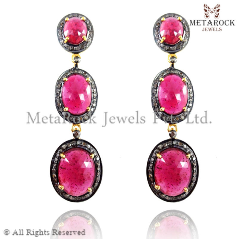 ruby gemstone diamond earring, metarock jewels wholesale 92.5 sterling silver jewelry, diamond gemstone jewelry