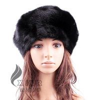 CX-C-159C Black Colour Casual Wear Genuine Mink Fur Animal Hat