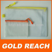 PVC Mesh File Packing Bag Plastic Mesh Zip Top File Pencil Bag PVC Packing Paper Bag