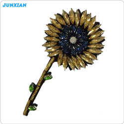 Handmade decorations bead sunflower design embroidered patches for dresses