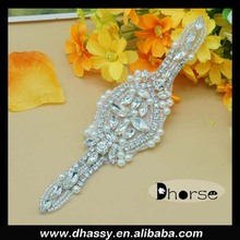 Dhorse DH-887 wholesale silver beaded african beads rhinestone applique
