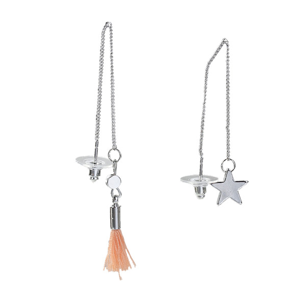 Fashion Silver Tone Orange Pentagram Star Tassel Earring Women Jewelry Ear Thread Threader Earring