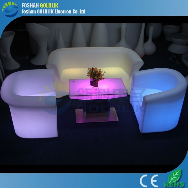 Computer Control RGB Plastic True Color Glowing Battery Three Seats Lighted Outdoor led sofa set