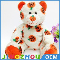 Halloween gift bear plush toy,pumpkin decorated stuffed bear toy,seated animal bear toy gift