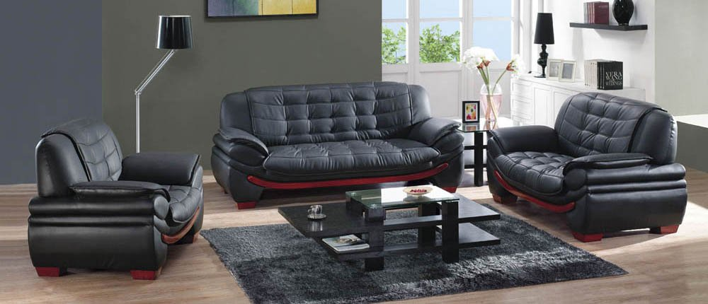 Captivating Modern Leather Sofa Set Black Buy Black Leather Sofa Set Product